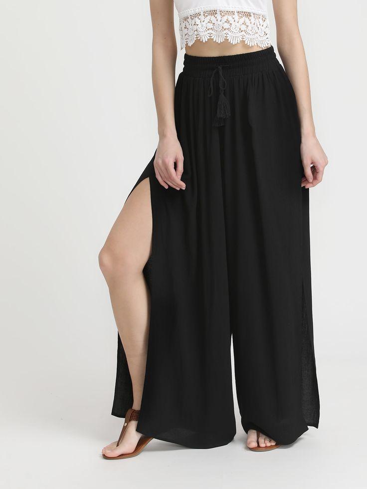 pantalons palazzo avec des ouvertures latérales de cordon de serrage-French SheIn(Sheinside)