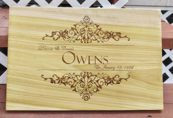 Family Name Cutting Board  Wedding Gift Idea  Custom