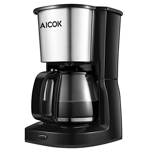 Aicok Coffee Maker 10-Cup Thermal Coffee Machine with Glass Carafe and Reusable Mesh Filter, Black/Stainless Steel - http://coffeecenter.org/aicok-coffee-maker-10-cup-thermal-coffee-machine-glass-carafe-reusable-mesh-filter-blackstainless-steel/