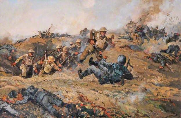 Corporal J. Davies, VC, at Delville Wood, 1916 by Leslie Arthur Wilcox