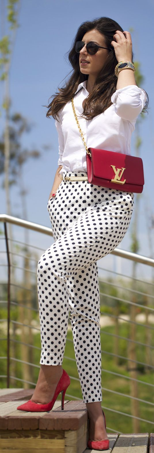 Polka Dot Pants Chic Streetstyle                                                                             Source
