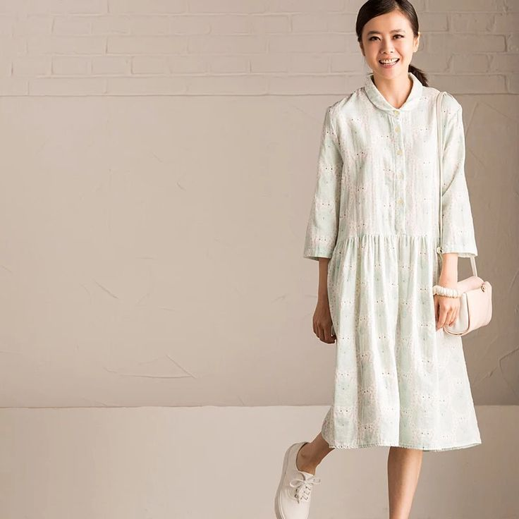 Flower cotton linen lovely dress for women