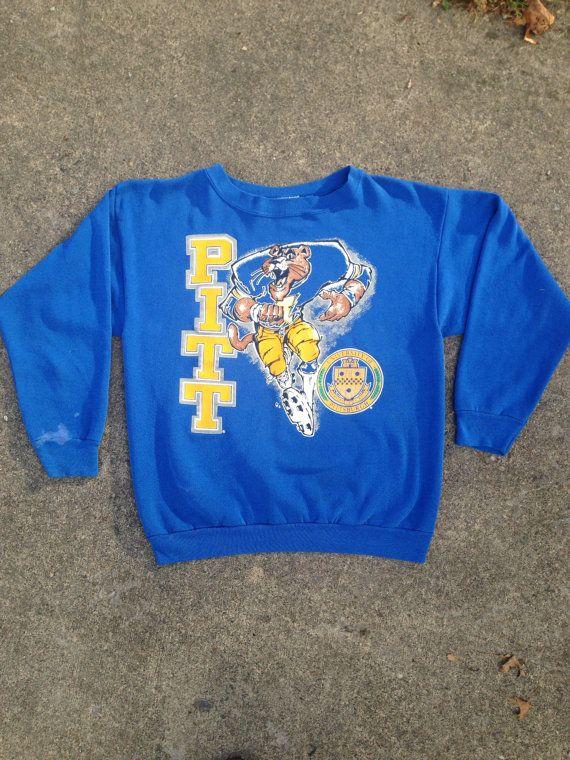 vintage: blue PITT Football crewneck by ShopFuzzyV on Etsy