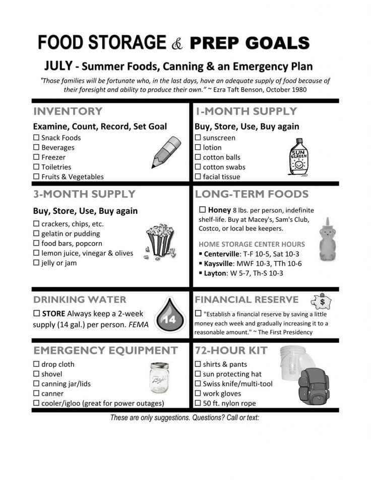 July Food Storage & Prep Handout for LDS Relief Society – Food Storage Organizer