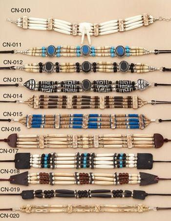 Native American chokers are usually made from bone and glass beads and many are…