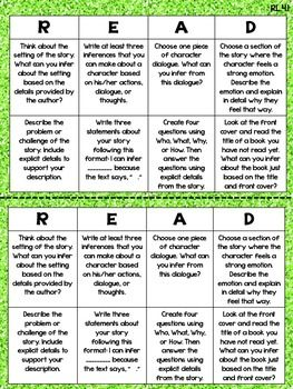 Reading Choice Boards for each 4th Grade Common Core Reading Standard!