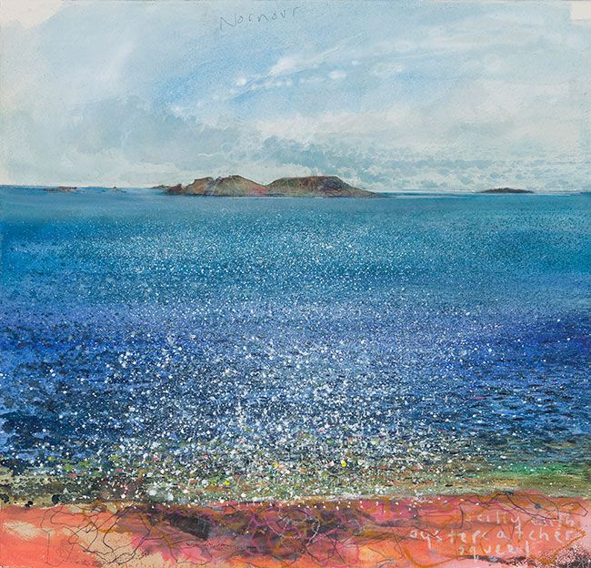 Kurt Jackson: Nornour from Perpitch, St Martin's, Scilly with oystercatcher squeal. May 2012 Campden Gallery
