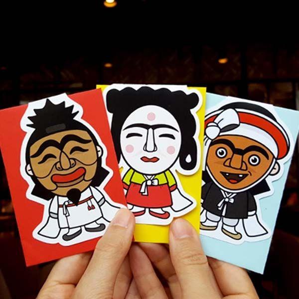 ::Korea Souvenir:: 하회탈 미니카드 Hahoetal Mini Card (Yangban / Gakssi / Choraengi)