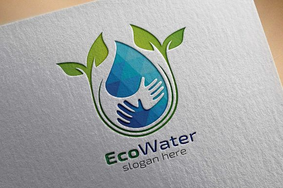 Eco Blue Water Drop Logo by denayunebgt on @creativemarket