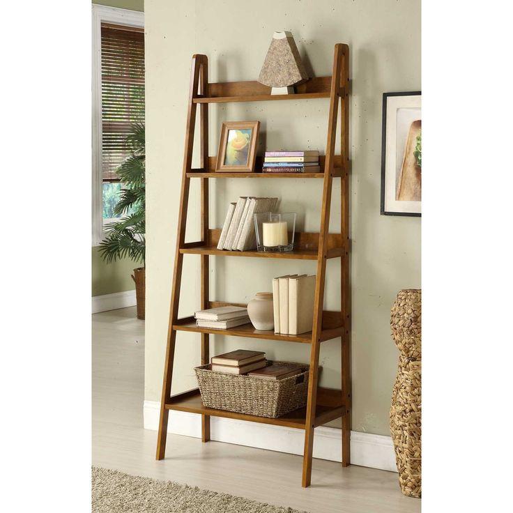 walnut leaning ladder shelf bookcase