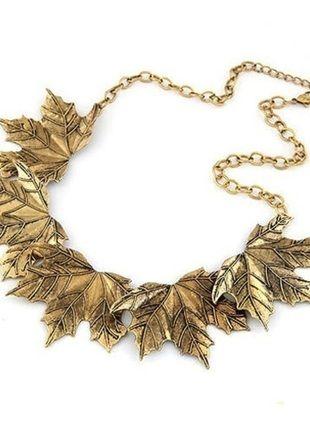 Metalowy naszyjnik collar kolor stare złoto idelane lna jesień, jesienny