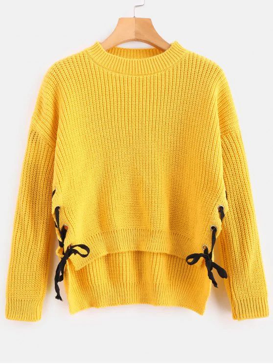 Contrast Lace Up Side Sweater – Mustard