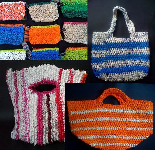 Re-Find Handbag made from used plastic bags. Super cute! I would so use them