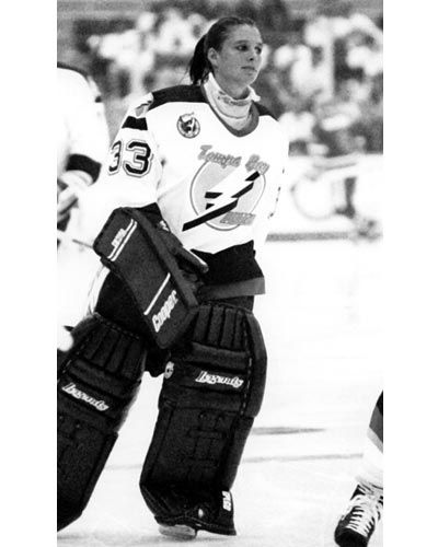 Manon Rheaume (born: 1972) 1992: Became the first female to play professional hockey When Rheaume signed on to play goalie for the Tampa Bay Lightning, she became the first—and, to date, only--woman with a professional hockey contract. The talented goal tender played in a few NHL exhibition games and helped lead the Canadian women's team to a silver medal in the 1998 Olympics. She also has two World Hockey Championship gold medals to show for her skills.