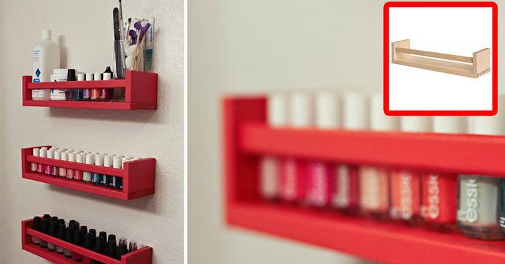 17 praktische Ikea-Tricks, die dein Leben effizienter, besser und einfacher machen – Gewürzregal von Ikea für Nagellack