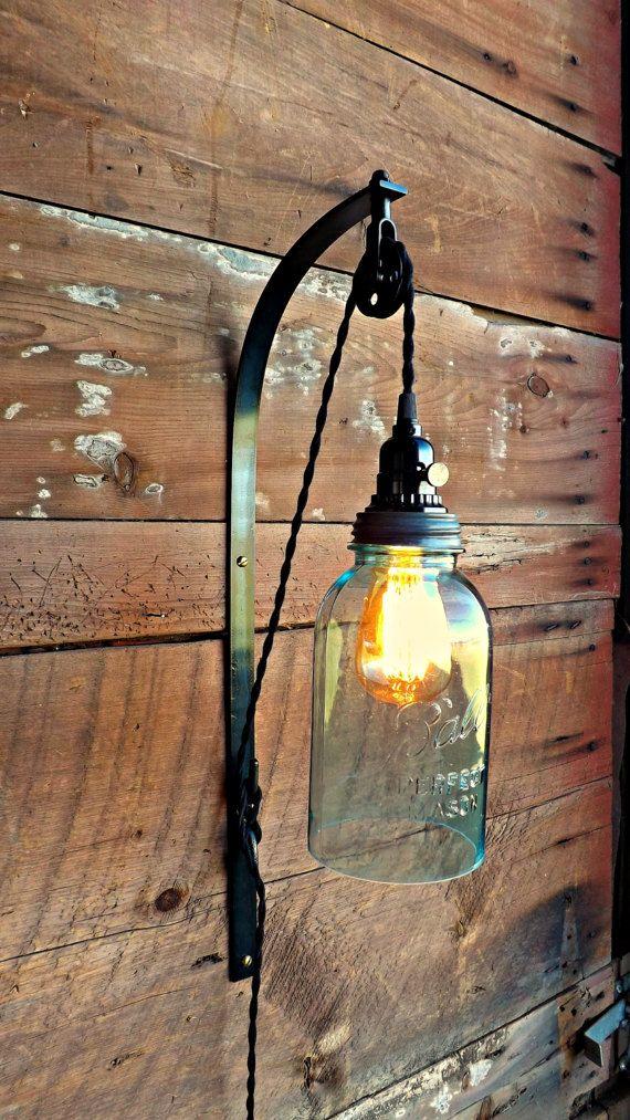 Mason Jar Light Farmhouse Light Night Light Industrial Light