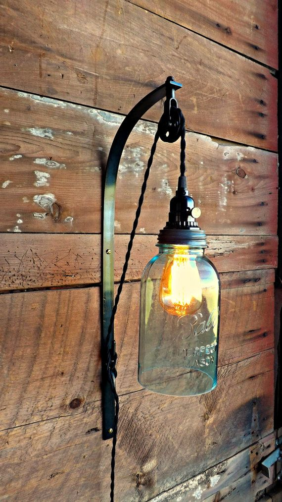 Mason jar pendant pulley sconce Ball jar light Mason lamp