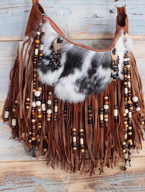 Boho bag, cross body bag, fur bag, boho hippie purse, hippie bag, bohemian purse, festival clothes, fringe bag, boho bag with fringe