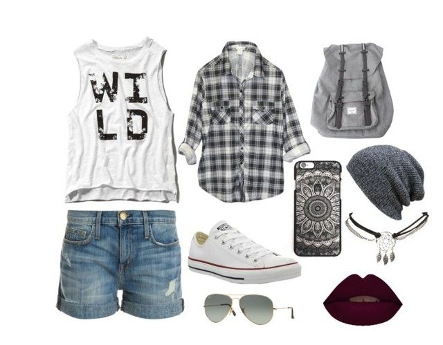 """casual 2"" by taylapawlak on Polyvore featuring Abercrombie & Fitch, Wet Seal, Current/Elliott, Converse, Herschel and Ray-Ban"