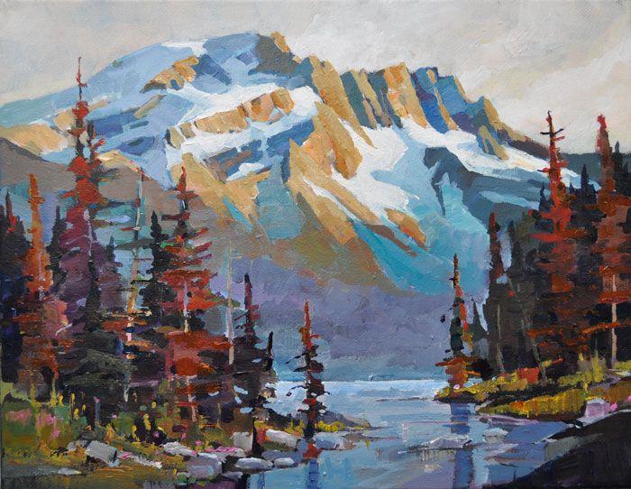 "'Mountain Saturation' 11"" x 14"" Acrylic on Canvas by Randy Hayashi"