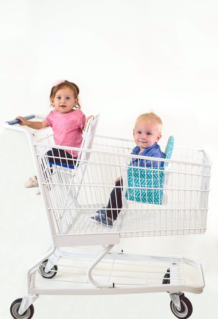 Buggy Bench makes shopping with 2 so much easier! Perfect for a mom with 2 young kids or twins! Buggy Bench securely straps to any size shopping cart and keeps your child safely buckled inside. Holds up to 40 pounds and is machine washable!