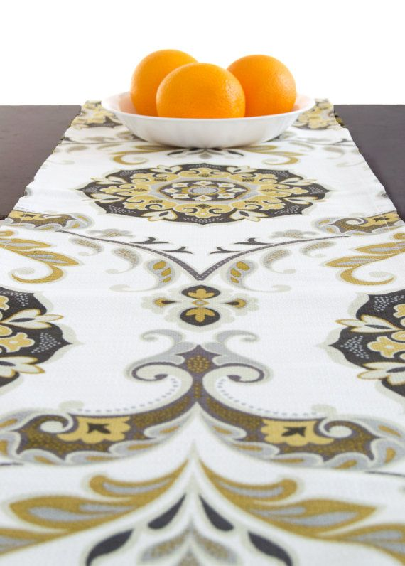 White And Gold Table Runner Table Runner Fall And