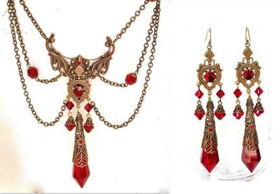 Rote viktorianische Gothic Schmuck Set Swarovski-Kristallen