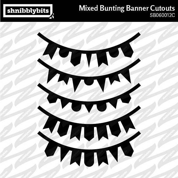 20 Mixed Bunting Banner Cutouts  SVG DXF PNG Digital