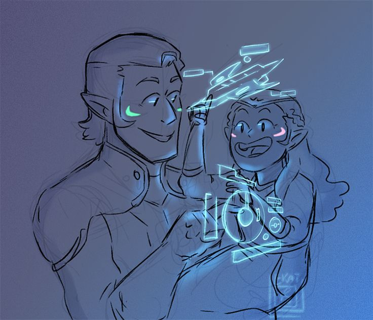 current fav thing to draw is lil Allura with young Coran Also i have fallen hard