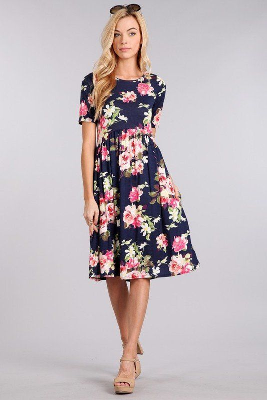 The Madeline- Modest floral dress. Perfect for a bridesmaid dress or an Easter Dress