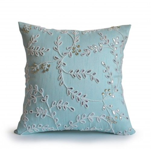 Teal throw pillow with intricate beads, crystals and sequin details will be the perfect accent for your home, dorm or gift. The design captures the beauty of a midsummer night. It makes a wonderful ad