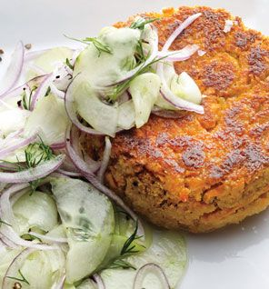chickpea + sweet potato burger with cucumbers.
