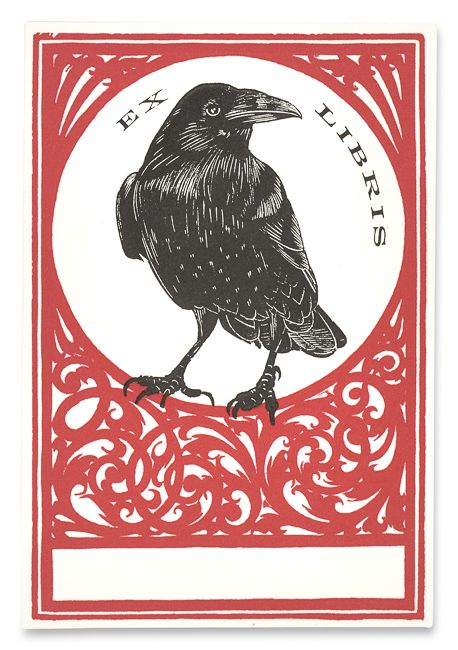 Raven Ex Libris from Pettingell Book Bindery, Berkeley, California