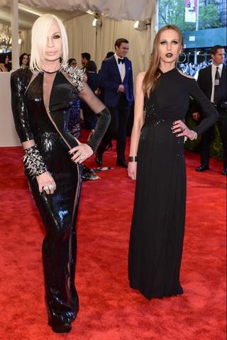 Donatella Versace and Allegra Versace, both in Versace.