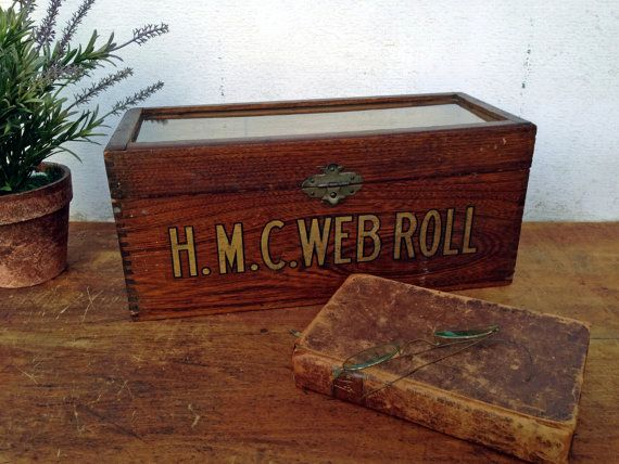 Antique Wooden Oak Box H M C Web Roll by greatoldcountryfinds