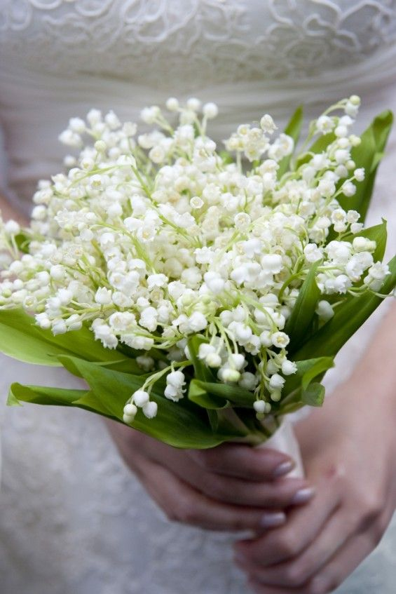Wedding, Flowers, Floral - Delicate lily of the valley bridal bouquet with stem wrapped with ivory satin ribbon
