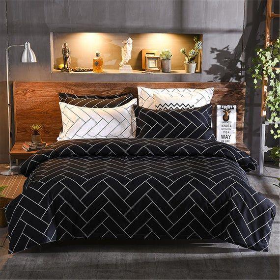 Modern Microfiber Duvet Cover Stylish Black Bedding With Wave Etsy Duvet Cover Sets Duvet Bedding Bed Linen Design