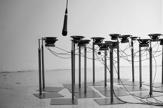 "Rotation/Notation by karl salzmann.  Documentation of the Sound-Installation ""Rotation/Notation"" (2012) @ Galerie 12-14, Schleifmühlgasse, Vienna"