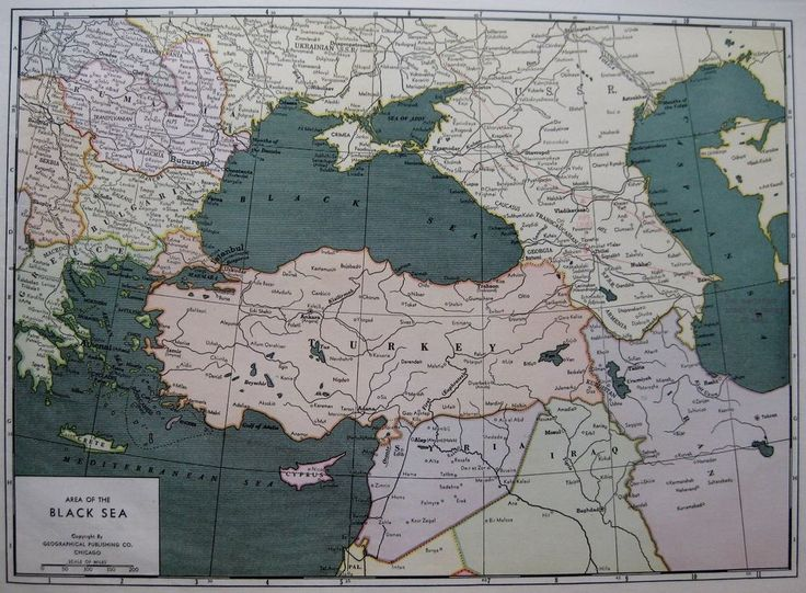 RARE 1940 BLACK SEA Map Turkey Map Syria OIL PIPELINES Map Poster Print Size