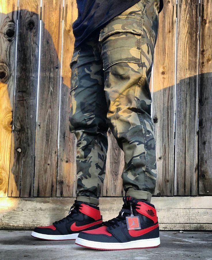Jordan 1 Bred AJKO Men Camo Pants outfitgrid