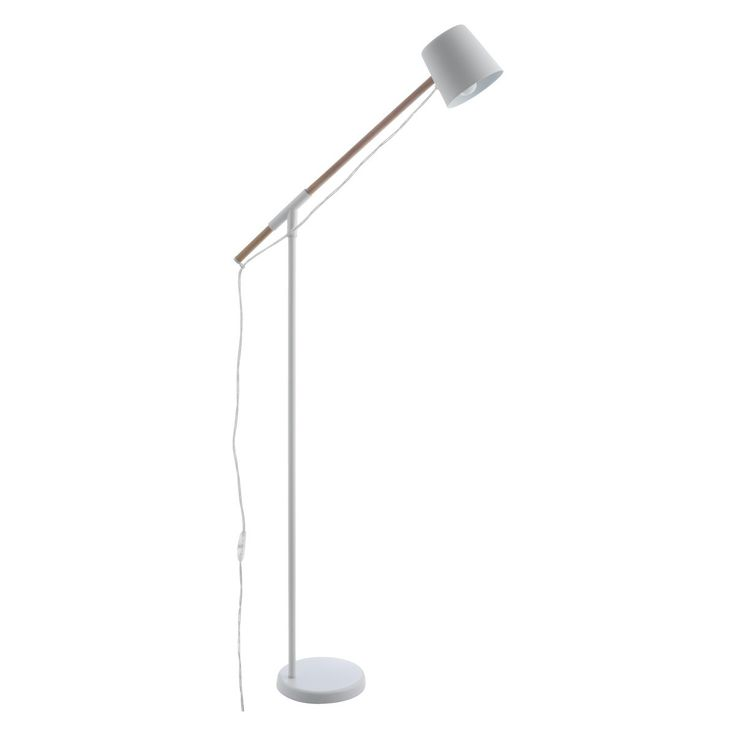 PEETA White Metal And Wood Floor Lamp