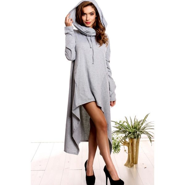 Grey turtle neck hoodie sweatshirt dress (36 AUD) ❤ liked on Polyvore featuring dresses, grey, turtleneck top, turtleneck dress, gray dress, long sleeve sweatshirt dress and long-sleeve turtleneck dresses