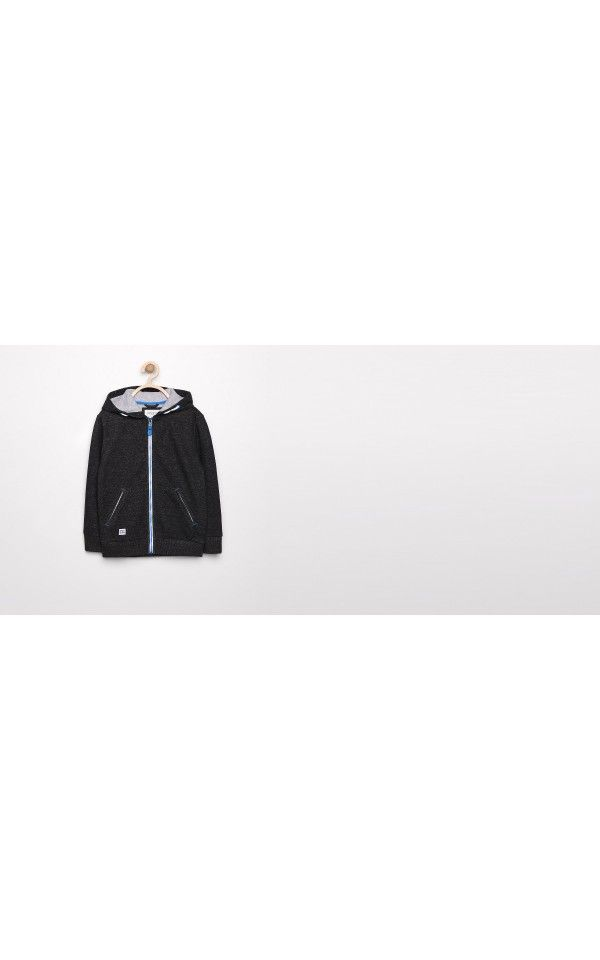 Rozpinana bluza z kapturem, KIDS 2-8 LAT, czarny, RESERVED
