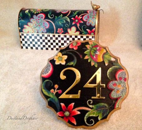 DIY house number plaque, curb appeal crafts, mackenzie childs mailbox