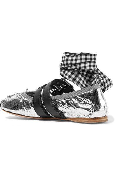 Miu Miu - Lace-up Metallic Leather Ballet Flats - Silver - IT34.5
