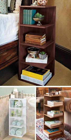 "Reader's Nightstand  Just one square foot and this 4-shelf stand is all it takes to organize your books and magazines. Tuck it next to your favorite reading chair or use it as a nightstand. With 7½"" between shelves, there's plenty of room on each shelf for a year's worth of magazines, or several books."