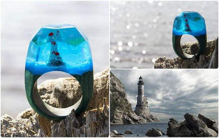 A new ring is a new world! This time the sea landscape in the center of which the Lighthouse as a symbol of light hope and the right way! The landscape inside the ring is made entirely of wood and jewelry resin!  #greenwood #greenwoodring #waterfall #lighthouse #discovery #woodjewelry #woodenrings #woodrings