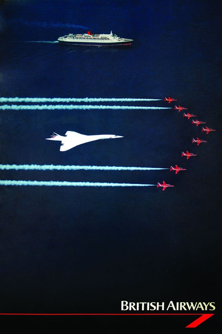 Concorde, QE2 and the Red Arrows: British Airways poster c.1985 (British Airways Heritage Centre)