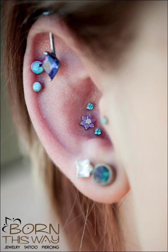 Multiple Cartilage Piercing Triple conch piercing and