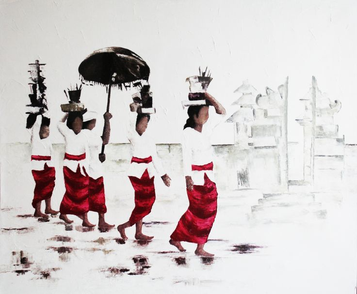 """An original oil painting """"Balinese Ceremony""""  Size: 80x100cm Product Details: oil painting Price: Rp 1.282.500  